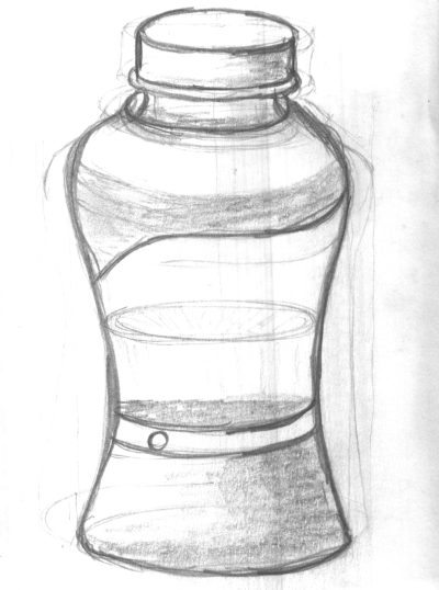 the drawing of a water bottle