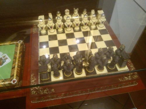 Chess set made out of chocolate