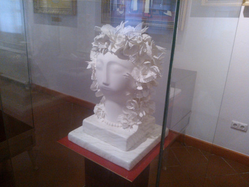 Head of a goddess made out of chocolate